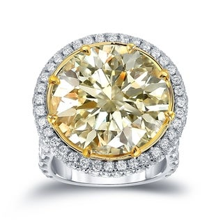 Auriya 22 1/ 2ct TW Certified Yellow Diamond Halo Engagement Ring (7)